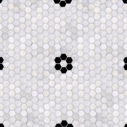 Parramore 3cm Hexagon with Flower Mosaic - Classic hex in marble with a flower mosaic just says classic bathroom, clawfoot tub, subway tile, all things that I love and I never get tired of. Of course, you can mix this, we have done bathrooms with hex and modern fixtures...