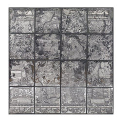 Uttermost - Uttermost Antique Street Map Traditional Wall Art / Wall Decor X-50055 - Printing the image on the back of an antiqued mirror creates the artwork. Wooden frame has a black satin finish.