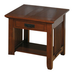 Jofran - Jofran 036-3 Viejo Brown End Table - The simplicity and elegance, style and practicality - these are the main theses of occasional tables by Jofran inc. Among the great variety of collections you can choose the one that best suits your apartment, and that is to your liking. This Viejo brown end table belongs to 036 series - Viejo brown mission oak collection by Jofran inc. The classic formulas of color combinations are not valid in Jofran furniture territory: here is ruled by laws solely of your own preferences and fantasies. Huge selection of colors in combination with a wide choice of shapes and sizes allow you to find among this variety precisely the furniture you've always wanted to see in your home. Jofran furniture offers high quality, casual furniture pieces that are constructed from premium Asian hardwoods, and finished with beautiful veneers. Durable materials and quality assembly will help your furniture to serve for many years and will not let you be disappointed in your choice.