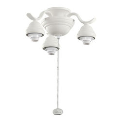 Joshua Marshal - Three Light Satin Natural White Fan Light Kit - Three Light Satin Natural White Fan Light Kit