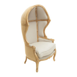 Great Deal Furniture - Bainbridge Hooded Dome Armchair - The Bainbridge Hooded Dome Armchair is inspired by 16th century France. This statement piece accentuates any room with its unique hooded back structure. The juxtaposition of the linen fabric blend and the weathered oak creates a distinct look, while retaining comfort with the full wrap around back rest. This chair would make a great, timeless piece in a living room, den or even displayed in a large bedroom.