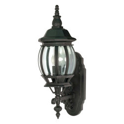 Nuvo Lighting - Central Park 1 Light Textured Black w/ Clear Beveled Panels Wall Lantern - Create a traditional and welcoming atmosphere at the front of your home with this one-light wall lantern. You can get it in either bronze, white, or textured black, so you can choose the color that best coordinates with your home's interior.