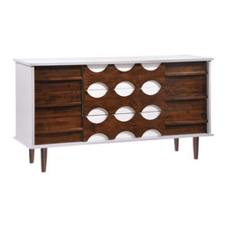 Zuo - Seattle Double Dresser - The Seattle Double Dresser is as cool and unique as the city itself. As much an art piece as a functional storage unit, this modern buffet features nine drawers in a stunning pattern. Integrated pulls are recessed into the unit, which allows the stark white and walnut design to take precedence. Crafted of rubberwood with a thick wood veneer, the Seattle Double Dresser is encased in a crisp white painted cabinet, with a warm walnut stain on the drawer fronts and legs. Choose this handsome sideboard for storage and style in the dining room or living room. This modern storage cabinet is also an excellent choice for the bedroom or office.