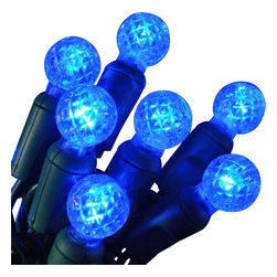 """Seasonal Source - Commercial 25 G12 Blue LED String Lights, 4"""" Spacing - Blue G12 (Razzberry) lights are a favorite because they look so real in foliage as they mimic the look of berries."""
