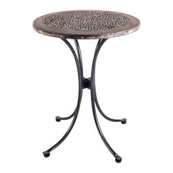 New Rustics - New Rustics Mosaic Pebbles Round Table in Wrought Iron - This new collection brings an artsy street-style cafe look to any outdoor living space. Handmade with wrought iron and unusual handcut rustic slate, pebbles, and glazed tile inlay patterns, these pieces also compliment indoor decor with natural colors and streamlined designs.