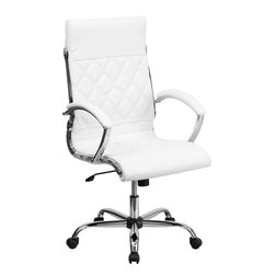 Flash Furniture - High Back Designer White Leather Executive Office Chair with Chrome Base - This elegant office chair will add an upscale appearance to your office with its attractive stitched seat and back. The comfort molded seat has built-in lumbar support and features a locking tilt mechanism for a mid-pivot knee tilt. If you're looking for a modern office chair that provides a sleek look, then the Designer Upholstered Leather Office Chair by Flash Furniture delivers.
