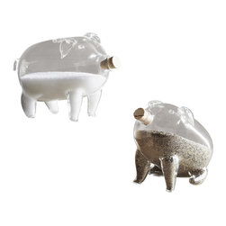 Pair Of Pig Salt N Pepper Shakers - Pudgy Pigs and Charming Chicks add a playful element to Kitchen or table. Each Salt and pepper shaker is blown from thin but sturdy borosilicate glass. Cork Stoppers keep seasonings secure.