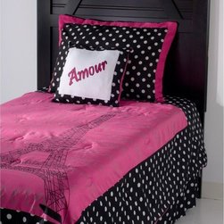 Rizzy Home - Rizzy Home Amour Kids Comforter Bed Set Multicolor - BT0872FULL/QUEEN - Shop for Bedding Sets from Hayneedle.com! Ooh la la - give your little fashionista the perfect place to get her beauty rest with the Rizzy Home Amour Kids Comforter Bed Set. Let her dream of writing poetry in cafes or singing like Edith Piaf with this Parisian-inspired set. The darling pink black and white colors are a true classic. Polka dots and a decorative pillow will definitely let her fall in Amore with her bedroom while the reversible comforter features a lovely picture of the Eiffel Tower. Available in your choice of size.Comforter Dimensions:Twin: 92L x 68W in.Full/Queen: 92L x 96W in.About Rizzy HomeRizwan Ansari and his brother Shamsu come from a family of rug artisans in India. Their design color and production skills have been passed from generation to generation. Known for meticulously crafted handmade wool rugs and quality textiles the Ansari family has built a flourishing home-fashion business from state-of-the-art facilities in India. In 2007 they established a rug-and-textiles distribution center in Calhoun Georgia. With more than 100 000 square feet of warehouse space the U.S. facility allows the company to further build on its reputation for excellence artistry and innovation. Their products include a wide selection of handmade and machine-made rugs as well as designer bed linens duvet sets quilts decorative pillows table linens and more. The family business prides itself on outstanding customer service a variety of price points and an array of designs and weaving techniques.