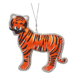 Sitara Collections - Handcrafted Beaded Mighty Tiger Ornament - The Tiger Stands Tall and Proud. with Silver Trimming and Black Thread Work, He's Just the Perfect Choice to Lead our animal Kingdom. this Handcrafted ornament is Crafted by artisans in india.