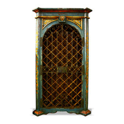 Feel the Teal - This wine cabinet is a one of a kind masterful piece. Hand forged wrought iron gates come together with an antiqued lock & key mechanism. The resemblance to the old world blended with functionality for contemporary use results in a stunningly unique and luxurious cabinet. Our factory can customize and build to your specifications.
