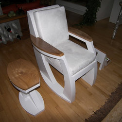 Chairs - One of a kind handmade chair sculpted from rigid urethane foam, accented with book matched red elm arms and supplied with white micro fiber custom seat cushions, matching end table and magazine rack