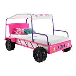 Adarn Inc - Youth Girl Buggy Twin Bed w/ Front Headlights Colored Flowers Accent Canopy Roof - The Girls Buggy Bed is perfect for adding an eye-catching, fun centerpiece to a little girls bedroom. The bed looks just like a real buggy with four wheels, front headlights and a canopy roof. An open front and sides makes it simple to get in and out of. The canopy roof is accented by brightly colored flowers, adding a feminine flair to the piece. Finished in a bright pink, purple and white, the buggy is perfect for any little girls space.