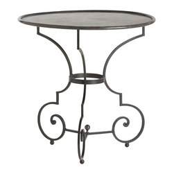 Arteriors - Hart Table, Large - Classic looping detailing and an iron finial define the Hart table. A trio of arched arms support the round banded iron top.