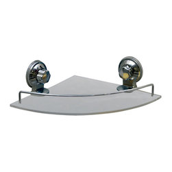 Acrylic Corner Shelf on Suction Cups Chrome - This rectangular bath shelf is made of frosted acrylic and provides adequate storage for all your shower accessories. It features a chrome finish rail and two extremely strong chrome finish suction cups for a secure adhesion to bath tiles. Simply turn suction cup buttons to hold firmly to your shower wall. It easily holds small bottles, sponges, body washes, shampoos or lotions without any drilling, tools, or damage to your walls. Length of 9.4-Inch, width of 9.4-Inch and height of 3.5-Inch. Wipe clean with soapy water. Color chrome and transparent. Organize your bath items and tidy up your shower area with this rectangular bath shelf! Complete your decoration with other products of the same collection. Imported.