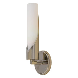 Murray Feiss - Murray Feiss Hallie Transitional Wall Sconce X-NP9041BW - This Murray Feiss wall sconce features subtle 1920s influencing for a unique but stylish feel. From the Hallie Collection, the elongated shape adds interest and is made from a crisp white opal etched glass that compliments the clean tones of the brilliant Polished Nickel finish. ADA compliant.