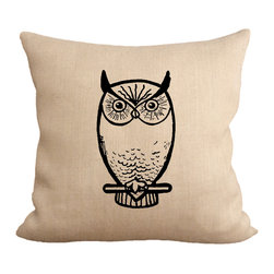 """Fiber and Water - Nocturnal Owl Pillow - No Pillow Insert. Cover Only - Owl Pillow. Great for the Owl lovers and we know you're out there! Hand-pressed onto natural burlap using water-based inks. Dimensions: 19""""x19"""". Front: 100% Sultana Burlap w/ Hand-Pressed Print In Black. Back: 100% Natural Duck Cloth Canvas. French Seams & Surged Edges. Aluminum Hidden Zipper. Spot-Clean Only. As always, Made in Maine."""