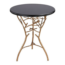 Lazy Susan - Lazy Susan 1481006 Thicket Side Table - Stylish and sophisticated this side table is formed from solid cast iron and finished in a gold leaf finish with antique, this heavy weight side table is finished with a marble top.