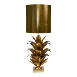 Worlds Away Arianna Metal Table Lamp, Gold - Worlds Away Arianna Gold Leaf Metal Table Lamp