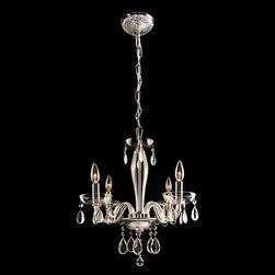 Lightology Collection - Gatsby 4 Light Chandelier - Gatsby 4 light chandelier features hand blown glass and a chrome finish. Available with smoke, clear, amber, black, chrome, golden teak, and white handblown glass in 4, 5, 6, 7, and 8 light chandelier versions. Four 60 watt, 120 volt, B10 candelabra base incandescent lamps not included. General light distribution. UL and cUL listed. 16 inch diameter x 18 inch height.