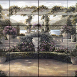 The Tile Mural Store (USA) - Tile Mural - Villa Beneventi - Kitchen Backsplash Ideas - This beautiful artwork by Betsy Brown has been digitally reproduced for tiles and depicts a serene patio with a trellis of vines, cactus and other tropical plants. In the distance you can see the beautiful ocean and mountains.  This garden tile mural would be perfect as part of your kitchen backsplash tile project or your tub and shower surround bathroom tile project. Garden images on tiles add a unique element to your tiling project and are a great kitchen backsplash idea. Use a garden scene tile mural for a wall tile project in any room in your home where you want to add interesting wall tile.