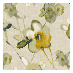 Yellow, Green & Flax Painted Floral Fabric - Yellow & green painterly floral on thick natural cotton ground makes for a modern yet rustic focalpoint for any room.Recover your chair. Upholster a wall. Create a framed piece of art. Sew your own home accent. Whatever your decorating project, Loom's gorgeous, designer fabrics by the yard are up to the challenge!