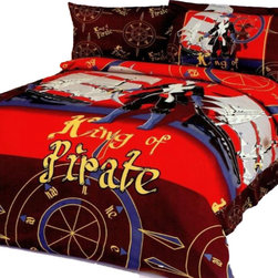 Le Vele - Kids & Juvenile Bedding 4pc Duvet Cover Sheet Set Bed in Bag, Twin Size LE40T - {King of Pirates} is featured on this colorful junior duvet cover set and will please your kids bedroom and fantasy.