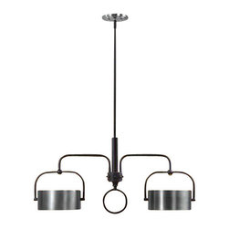 Uttermost Belding 2 Light Kitchen Island Fixture - Dark chocolate bronze accented with lightly antiqued brushed aluminum drum shades. Dark chocolate bronze accented with lightly antiqued brushed aluminum drum shades.