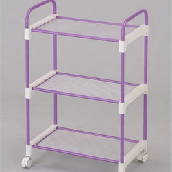 ORE International - Lavender 3-Tier Utility Cart - A simple and lightweight cart designed to expand storage room wherever needed. Three levels of storage (10 inches between tier), 4 wheels made easily for mobility with secured and tight safety locks to keep in place at convenience . Made with durable and stainless steel finished with a stylish and contemporary tone of light purple (lavender) paint. 20 in. W x 12 in. D x 30 in. H (7 lbs.)