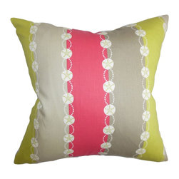 """The Pillow Collection - Xyliem Stripes Pillow Pink Gray 18"""" x 18"""" - Enhance the look and feel of your room with this pretty throw pillow. This accent pillow features a multicolored stripes pattern with coastal-themed details. A vertical band of pink, gray and green along with white decorations are highlighted in this 18"""" pillow. Mix and match this square pillow with solids and other textures. Made of 100% high-quality cotton fabric. Hidden zipper closure for easy cover removal.  Knife edge finish on all four sides.  Reversible pillow with the same fabric on the back side.  Spot cleaning suggested."""