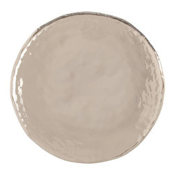 Sofia Large Polished Nickel Tray - Ripples of metal let light linger on the surface of the circular Sofia Tray, a splendid metallic home accent with a rolled edge for the unique look of hand-craftsmanship. Wherever a more anonymous tray might be used, substitute the Sofia design to give the result an appearance of perfect planning and exquisite high taste. This round tray is made from a bright, lovely polished nickel.