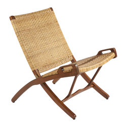 Stilnovo Vilhelm Rattan Folding Chair - Solid, arched mahogany wood pieces form the back, seat and legs in a scissor-like assembly. This is the framework for natural rattan that is woven for flexible seating comfort. Both lightweight and collapsible, the Vilhelm folding chair can be conveniently stored until it is needed.