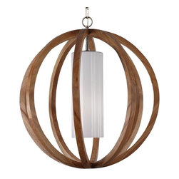 Feiss - Feiss F2952/1LW/BS Allier 1 Light Wood & Brushed Steel Chandelier - Finish: Light Wood / Brushed Steel
