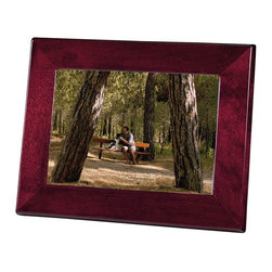 "Howard Miller - Rosewood Hall Wood Stained Picture Frame w Ea - This beautiful picture frame is perfect for the home or the office, to showcase your family, your home, or your pets. The finish is a hardy, attractive Rosewood Hall color, which will bring a handsome effect to your photograph. The frame holds a standard photograph or an engraved plate. * Frame holds a standard 5"" x 7"" photograph or plate. . Engraved plate not included. . Finished in Rosewood Hall on select hardwoods and veneers. . H. 7-1/2"" (19 cm). W. 9-1/2"" (24 cm). D. 1"" (3 cm)A collection of beautiful high-gloss Rosewood Hall frames for displaying treasured photos or awards! Each frame is completely finished on the back-the easel stand is finished in high-gloss Rosewood Hall as well. Display them on a desk or shelf and they look beautiful from the front or back"