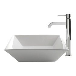 Kraus - Kraus C-KCV-125-1007CH White Square Ceramic Sink and Ramus Faucet - Add a touch of elegance to your bathroom with a ceramic sink combo from Kraus