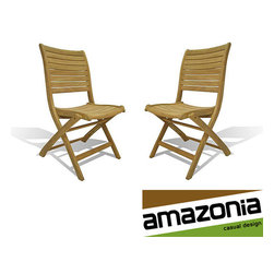 Amazonia - Bordeaux Teak Chairs (Set of 2) - Add comfortable and stylish seating to your outdoor living space with these sturdy teak chairs. This Bordeaux chair is the perfect place to sit and relax outside. These come in a set of two neutral,brown teak wood chairs,and are fully assembled.