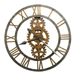 "HOWARD MILLER - Crosby Large Metal Gear Wall Clock - This 30"" diameter metal gallery clock with applied Roman numerals and cast metal gears."