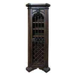 Koenig Collection - Old World Tuscan Wine Cabinet Thin, Brown Ochre With Scrolls - Old World Tuscan Wine Cabinet Thin, Brown Ochre with Scrolls