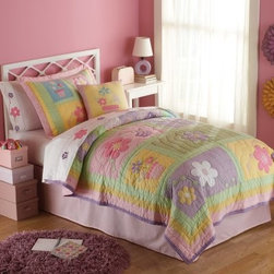 Pem America Sweet Helen Quilt Set - With a hand-made look sure to enhance any room the Pem America Sweet Helen Quilt Set has a pretty floral pattern sure to appeal to your little princess. This set features plenty of colors making it easy to coordinate with your child's bedroom decor and it's hand-crafted for superior quality and durability. The quilt set is made from 100% cotton with 100% cotton fill and is machine washable for easy care.Quilt Set Components:Twin: Quilt 1 pillow shamFull/Queen:Quilt 2 pillow shamsDimensions:Twin Quilt: 86L x 68W inchesFull/Queen Quilt: 86L x 86W inchesPillow Shams: 26L x 20W inchesAbout Pem AmericaMakers of high quality handcrafted textiles Pem America Outlet specializes in bedding that enhances your comfort and emphasizes the importance of a good night's rest. Quilts comforters pillows and other items for the bedroom are made with care and craftsmanship by Pem America. Their products cover a wide range of materials styles colors and designs all made with long-lasting quality construction and soft long-wearing materials. Details like fine stitching embroidery and crochet decorations and reinforced seaming make Pem America bedding comfortable and just right for you and your family.