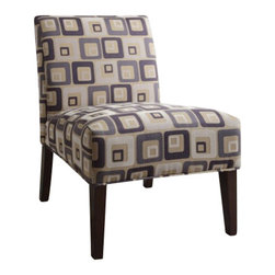 "Acme - Aberly Ii Collection Multi Color Rounded Squares Print Accent Chair - Aberly II collection multi color rounded squares print with tapered legs fabric upholstered accent side chair. Measures 30"" x 22"" x 33"" H. Some assembly required."