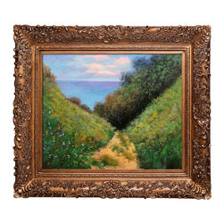 """overstockArt.com - Claude Monet - Chemin De La Cavee Pourville Oil Painting - 20"""" x 24"""" Oil Painting On Canvas Hand painted oil reproduction of a famous Monet painting, Chemin De La Cavee Portville. The original was done in 1882, today it has been carefully recreated detail-by-detail, color-by-color to near perfection. Why settle for a print when you can add sophistication to your rooms with a beautiful fine gallery reproduction oil painting? While Monet successfully captured life's reality in many of his works, his aim was to analyze the ever-changing nature of color and light. Known as the classic Impressionist, Monet cannot help but inspire deep admiration for his talent in those who view his work. This work of art has the same emotions and beauty as the original. Why not grace your home with this reproduced masterpiece? It is sure to bring many admirers!"""