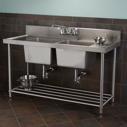 Stainless Steel Double-Bowl Commercial Console Sink with Shelf - Ideal for a high-traffic kitchen, this Stainless Steel Commercial Sink features two wells, drilled faucet holes and an open shelf for extra storage. Add a commercial faucet to complete the set.