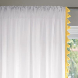 Serena & Lily - French Tassel Window Panel  Maize - Pure white cotton gets a trim of tassels in bright shades. Best design feature? Its flexibility the fabric is completely reversible, so the tassels can fall on the inner or outer edges.