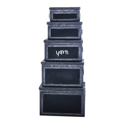 Park Hill Collection - Metal Bins With Chalkboard Fronts, Set of 5 - Who doesn't need more storage? This set of five metal bins in varying sizes can stack together or used separately and you can write whats inside on the chalkboard front. Use in the craft room to organize supplies or anywhere you need more organization.