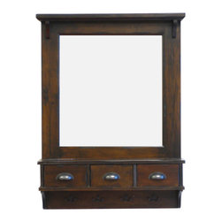 Proman Products - Proman Products Bombay Wall Mirror in Antique - Bombay wall mirror, elegant classic design with drawers and hooks to store your daily used items.