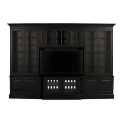 Ethan Allen - Villa Home Theatre - A super-functional and super-stylish home theatre that can define a family room. Left and right bookcase cabinets have three adjustable wood-framed glass shelves, a fixed bottom shelf, a lighted interior, and one shelf behind the bottom door. The media bridge contains three adjustable shelves and lighted interior, and base units containing two adjustable shelves. The video panel, with its wire management cut-out, connects to the media base with rigid steel supports and to the media bridge with bolts.  Available in an array of custom finishes.