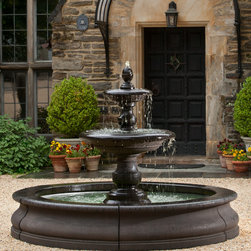 Campania International Caterina Tier Fountain in Basin - The breathtaking Caterina Outdoor Garden Fountain in Basin will turn any garden or outdoor living area into your favorite gathering spot. Water bubbles from the finial, cascading down into each tier, creating a soothing sound for you and your guests to enjoy.