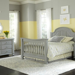 Sugar Crib in Vintage Grey converted into Full Bed - •Sugar is a solid panel headboard crib that converts to a Toddler bed and either a Full or a QUEEN bed!