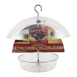Droll Yankees - American Bird Dome Feeder 10 inch - American Bird Seed Saver Multi-Use Feeder. 7 inch diameter dish with 10 inch diameter adjustable dome. Holds 3/4 lb. of seed, suet, fruit, or mealworms. UV-stabilized polycarbonate. Aluminum rod.