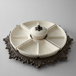 GG Collection - GG Collection Lazy Susan - With four removable compartments—each divided into two sections—and a removable covered bowl in the center, this lazy susan keeps tidbits, munchies, and more easily accessible on a buffet or dining table. Handcrafted of cast aluminum and cer...