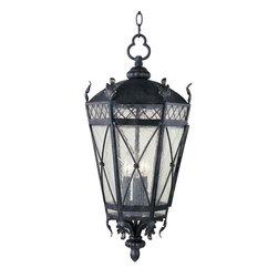 Canterbury-Outdoor Hanging Lantern - The Canterbury outdoor collection is made from forged iron and features an Artesian Bronze finish and Seedy glass.